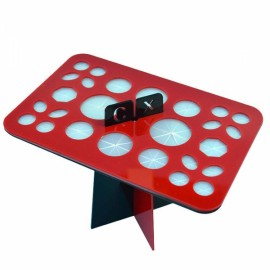26 Holes Acrylic Makeup Brush Rack Eyeshadow Pen Brushes Dryer Organizer Holder Stand - Black & Red