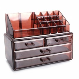 2Pcs / Set Plastic Cosmetics Storage Rack 2 Small & 2 Large Drawers Brown