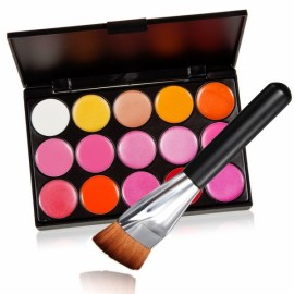 Pro Mix 15 Color Lip Gloss Lipstick Palette Set Cosmetic Makeup + Flat-end Brush