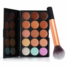 Perfect 15-Color Contour Face Cream Concealer Palette Cosmetic Set Blusher Brush
