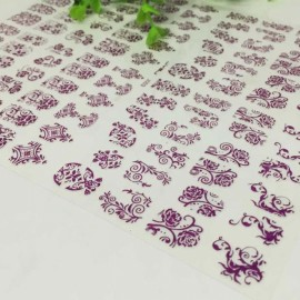 1 Sheet 108pcs 3D Flower Style Nail Art Stickers Purple