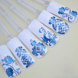 1 Sheet 108pcs 3D Flower Style Nail Art Stickers Blue