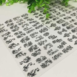 1 Sheet 108pcs 3D Flower Style Nail Art Stickers Black