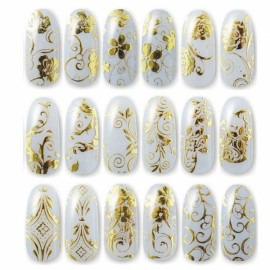 1 Sheet 108pcs 3D Flower Style Nail Art Stickers Golden