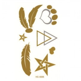 Foil Metal Noble Feather & Star & Heart & Triangle Pattern Gilding Temporary Tattoo Sticker Golden