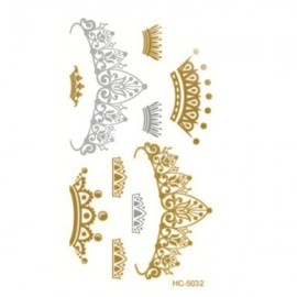 Foil Metal Noble Crown Pattern Gilding Temporary Tattoo Sticker Golden