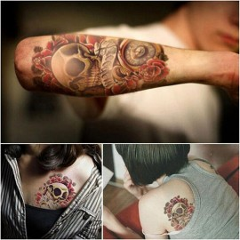 Waterproof Punk Skull Pattern Temporary Tattoo Sticker Colorful