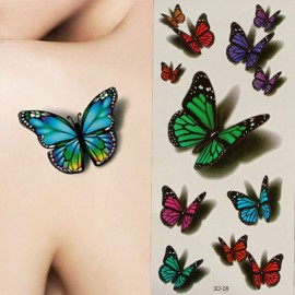 Sexy 3D Tattoo Butterfly Style Temporary Tattoo Body Art Flash Tattoo Sticker Colorful Tattoos For Girls