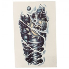 Temporary 3D Mechanics Design Body Arm Waterproof Tattoo Sticker Black
