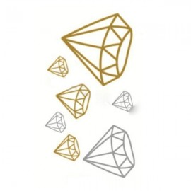 Foil Metal Shiny Diamond Pattern Gilding Temporary Tattoo Sticker Golden