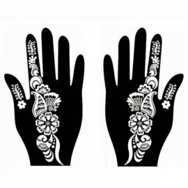 1 Pair India Henna Temporary Tattoo Stencil for Hand Leg Arm Feet Body Art Decal #28