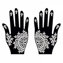 1 Pair India Henna Temporary Tattoo Stencils for Hand Leg Arm Feet Body Art Decal #9