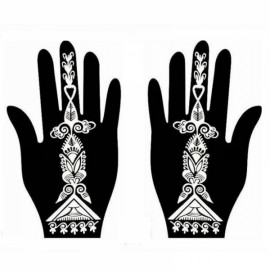 1 Pair India Henna Temporary Tattoo Stencil for Hand Leg Arm Feet Body Art Decal #25