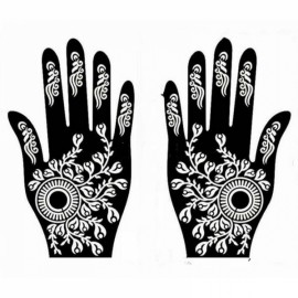 1 Pair India Henna Temporary Tattoo Stencils for Hand Leg Arm Feet Body Art Decal #34