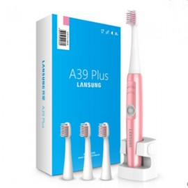 A39Plus Wireless Rechargeable Electric Toothbrush Ultrasonic Rotary Toothbrush with 4pcs Toothbrush Heads for Adult Pink