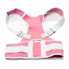 Adjustable Back Support Posture Corrector Brace Shoulder Belt Strap M Pink