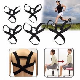Kids Adults Adjustable Back Support Belt Posture Correction Correct Brace Shoulder Corrector Black XS