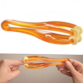 Delicate 2 Rollers Elastic Handle Relax Finger Joints Hand Massager Blood Circulation Massage Tool Orange