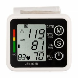 LCD Intellisense Mini Electronic Blood Pressure Monitor Digital Wrist Sphygmomanometer with Voice White