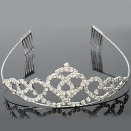Beautiful Love Style Rhinestone Medium Crown Hair Comb Pin Silver