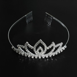 Bridal Wedding Princess Crystal Rhinestone Tiara Crown Headband Pageant Silver Plated Hair Comb #08