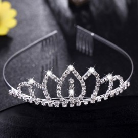 Bridal Wedding Princess Crystal Rhinestone Tiara Crown Headband Pageant Silver Plated Hair Comb #01