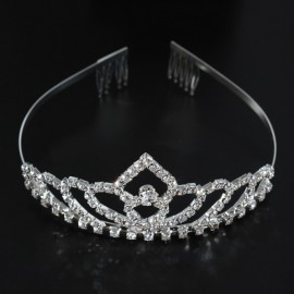 Bridal Wedding Princess Crystal Rhinestone Tiara Crown Headband Pageant Silver Plated Hair Comb #04