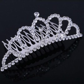 Rhinestone Bridal Wedding Princess Crown Tiara Hair Comb #03