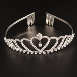 Bridal Wedding Princess Crystal Rhinestone Tiara Crown Headband Pageant Silver Plated Hair Comb #07