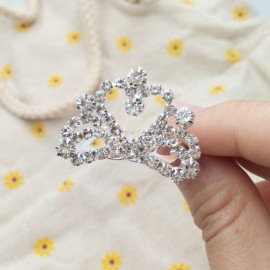 Small Wedding Bridal Rhinestone Crown Tiara Hair Comb Pin S3 Silver