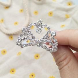 Small Wedding Bridal Rhinestone Crown Tiara Hair Comb Pin S3 Silver