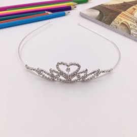 Heart Shaped Rhinestone Princess Crown Headband Tiara FK5 Silver