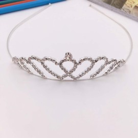 Heart Shaped Rhinestone Princess Crown Headband Tiara FK1 Silver