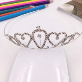 Heart Shaped Rhinestone Princess Crown Headband Tiara FK6 Silver