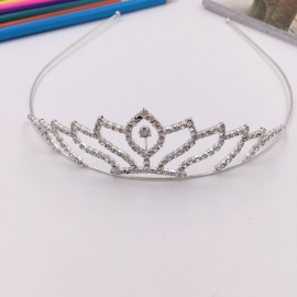 FK21 Lotus Shaped Rhinestone Crown Headband Tiara