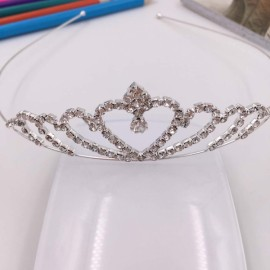 Heart Shaped Rhinestone Princess Crown Headband Tiara FK3 Silver