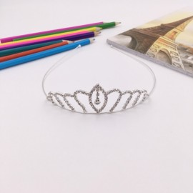 Flower Petal Shaped Rhinestone Crown Headband Tiara FK17 Silver