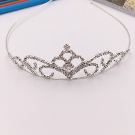 Flower Petal Shaped Rhinestone Crown Headband Tiara FK19 Silver