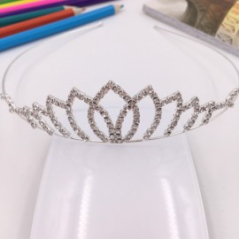 Flower Petal Shaped Rhinestone Crown Headband Tiara FK16 Silver