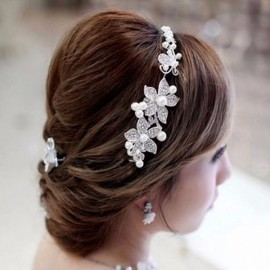 Bride Wedding Five Disc Flowers Rhinestone Crystal Pearl Alloy Tiara #1 White & Silver