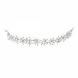 Elegant Rhinestone Crystal Wedding Headpiece Headband Bridal Bendable Tiara Crown Hair Jewelry Silver TFC-485