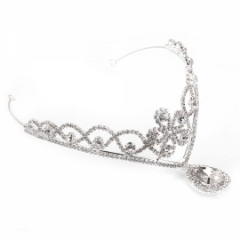 Rhinestone Crystal Tiara Crown Princess Queen Wedding Bridal Party Prom Headpiece Hair Jewelry Silver TFC-251