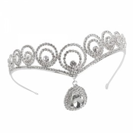 Rhinestone Crystal Tiara Crown Princess Queen Wedding Bridal Party Prom Headpiece Hair Jewelry Silver TFC-249