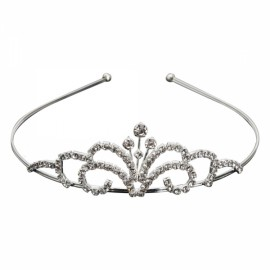 Rhinestone Crystal Tiara Crown Princess Queen Wedding Bridal Party Prom Headpiece Hair Jewelry Silver SNB-4629