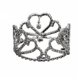 Girl Baby Crystal Rhinestone Full Circle Round Mini Tiara Crown Bridal Party Prom Headpiece Hair Jewelry Silver BNSC-1466