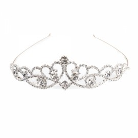 Rhinestone Crystal Tiara Crown Princess Queen Wedding Bridal Party Prom Headpiece Hair Jewelry Silver SNB-5121
