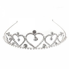 Rhinestone Crystal Tiara Crown Princess Queen Wedding Bridal Party Prom Headpiece Hair Jewelry Silver SNB-1926