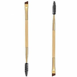 Bamboo Handle Dual-head Eyebrow Brush + Eyebrow Comb Makeup Brush Golden