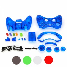 Protective Housing Case with Buttons for Xbox 360 Controller Transparent Blue CKD