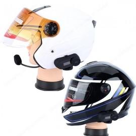 T-COM 800M LCD Motorcycle Helmet Intercom Stereo Headset with Bluetooth FM MP3 Function Black